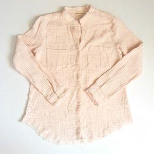 CLOTH & STONE Blush Raw Hem Button Down Blouse